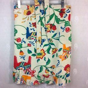 Apronner Beige Floral Ruffle Half Apron Pocket OS